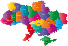 Map of Ukraine. With the regions colored in bright colors and the main cities royalty free illustration