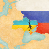 Map of Ukraine with Crack Royalty Free Stock Image