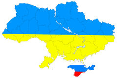 Map of Ukraine without the Crimea Stock Photo