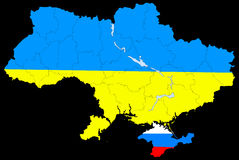 Map of Ukraine without the Crimea Stock Photography