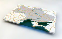 Map of Ukraine. 3d, roads and rivers Stock Images