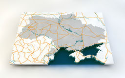 Map of Ukraine. 3d, roads and rivers Stock Photo