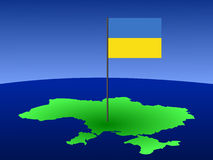 Map of Ukraine with flag Stock Photography