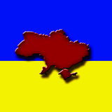 Map of Ukraine. In form of a splatter in red color of blood Royalty Free Stock Photography