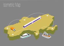 Map Ukraine isometric concept. Royalty Free Stock Images