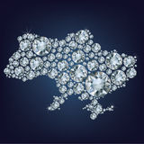 Map of Ukraine made from diamonds Royalty Free Stock Photo