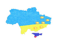 Map Ukraine map with small fires. Royalty Free Stock Photo