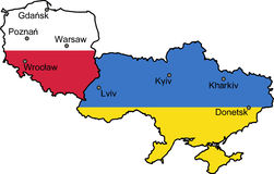 Map of Ukraine and Poland (UEFA Euro 2012). Map of Ukraine and Poland - the host countries of UEFA Euro 2012 Royalty Free Stock Photo