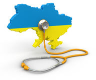 Map of Ukraine with Stethoscope (clipping path included) Royalty Free Stock Images