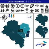 Map of Ulsan with Districts, South Korea. Vector map of Ulsan, South Korea with named districts and travel icons. Districts are signed in original korean vector illustration