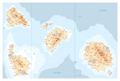Map of unidentified islands. Map illustration of a group of unidentified islands with mountains, roads and cities Royalty Free Stock Image