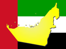 Map of United Arab Emirates. And their flag illustration Royalty Free Stock Photos
