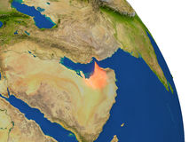 Map of United Arab Emirates in red Royalty Free Stock Photography