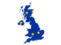 Map of United Kingdom. And European union flag illustration Stock Images