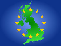 Map of united kingdom. And European union flag Stock Images