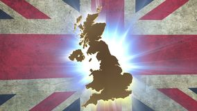 Map of United Kingdom with animated Union Jack on background. Stock footage stock video footage