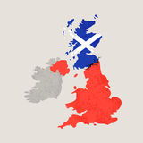 Map of United Kingdom with Crack. Outline map of United Kingdom and Scotland with black crack. Illustration for a referendum on Scottish independence Stock Image