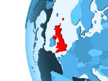 Map of United Kingdom. 3D render of United Kingdom in red on blue political globe with transparent oceans. 3D illustration stock illustration