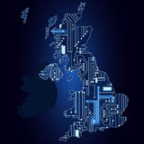 Map of United Kingdom with electronic circuit Stock Photography