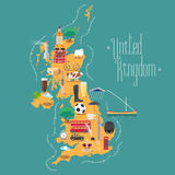 Map of United Kingdom, Great Britain with Scotland and Ireland vector illustration Stock Images