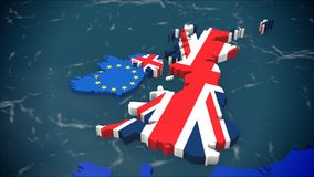 Map of United Kingdom leaving Europe, next to Ireland. With EU and UK flags, 3D, Brexit stock illustration