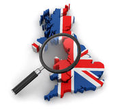 Map of United Kingdom with loupe Royalty Free Stock Photos