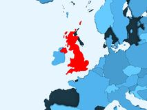Map of United Kingdom. United Kingdom in red on blue political map with transparent oceans. 3D illustration vector illustration