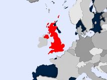 Map of United Kingdom. United Kingdom in red on political map with transparent oceans. 3D illustration Stock Photos