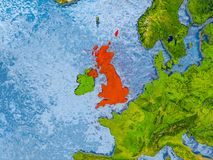 Map of United Kingdom. United Kingdom in red on realistic map with embossed countries. 3D illustration. Elements of this image furnished by NASA Royalty Free Stock Photos