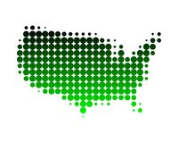 Map of the United States of America. In green dots Royalty Free Illustration