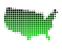 Map of United States of America. In green squares Vector Illustration