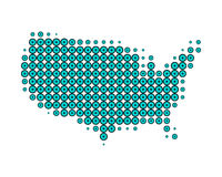 Map of United States of America. In turquoise dots Royalty Free Illustration