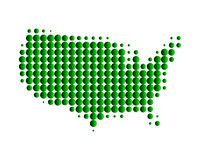 Map of United States of America. In green dots Vector Illustration
