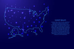 Map of the United States of America from the contours blue and luminous stars vector illustration Stock Photo