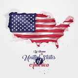 Map of United States of America with the decoration of the national flag. Symbol, poster, banner USA. Style watercolor. Drawing. America map with national flag Stock Image