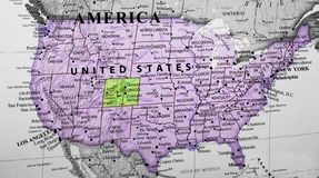 Map of United States of America highlighting Colorado state. Map of United States of America highlighting the state of Colorado stock photography