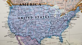 Map of United States of America. Highlighting the different states stock images