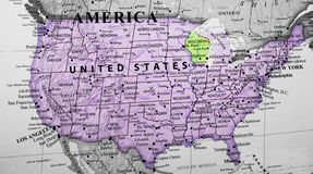 Map of United States of America highlighting Wisconsin royalty free stock image