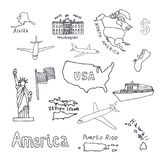 Map of the United States of America and its territories. North A. Merica, Alaska, USA, Hawaii, Guam and the US Virgin Islands. Statue of Liberty and the White Royalty Free Stock Photo