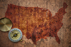Map of united states of america on a old vintage crack paper. Background with compass Royalty Free Stock Images