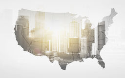 Map of united states of america over city Royalty Free Stock Photography