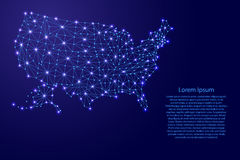 Map of United States of America from polygonal blue lines, glowing stars  illustration Stock Images