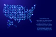Map United States of America from printed board, chip and radio. Component with blue star space on the contour for banner, poster, greeting card, of vector Royalty Free Stock Images