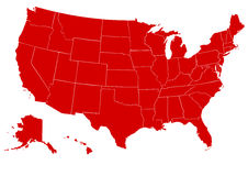 Map of United States of America red