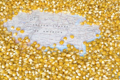 Map of United States of America under a background of corn seeds Royalty Free Stock Images