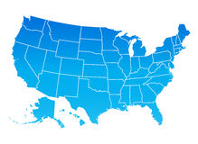 Map of the United States of America. USA map, blue color Stock Photos