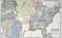 Map of United States in early 1800s Royalty Free Stock Image