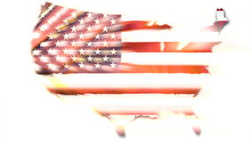 Map of United States flag stock video