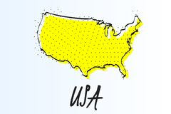 Map of United States, halftone abstract background. drawn border line and yellow color vector illustration