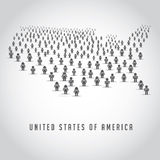 Map of the United States made up of a crowd of people icons Stock Photo
